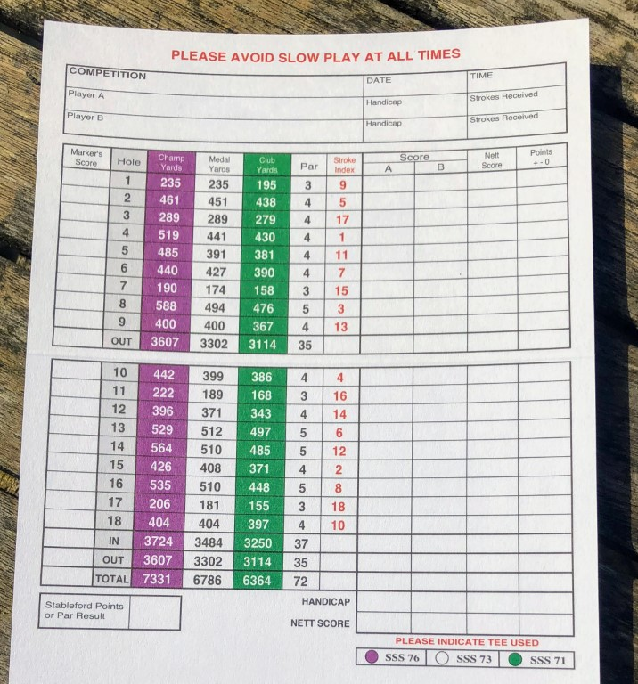 The scorecard for the Old Course at Walton Heath