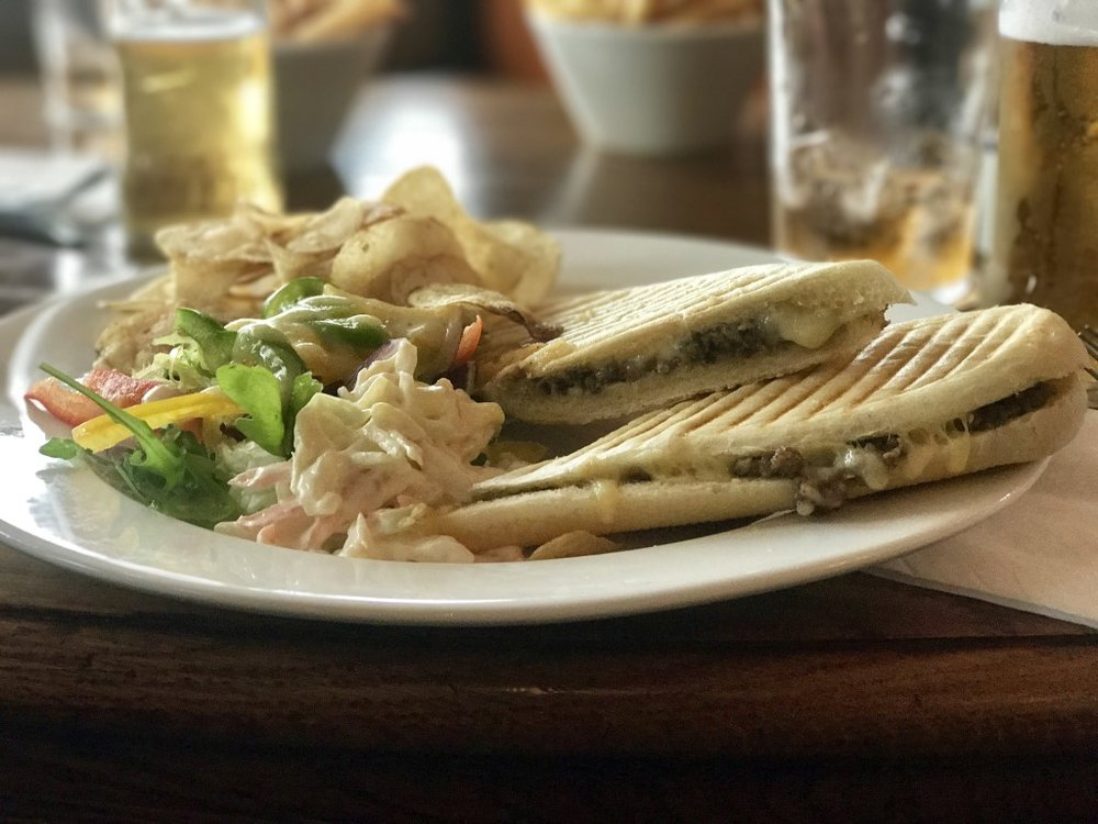 The Haggis Panini at Royal Troon - served with a light salad, coleslaw and crisps. A triumph!