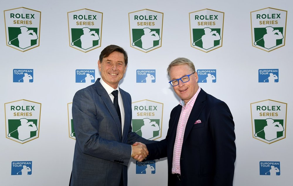 Keith Pelley with Rolex Global Head of Sponsorship and Partnership, Laurent Delanney launching the Rolex Series. Photo from www.europeantour.com