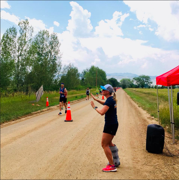Thankfully you can still cheer while injured: spectating Boulder 70.3 instead of racing.