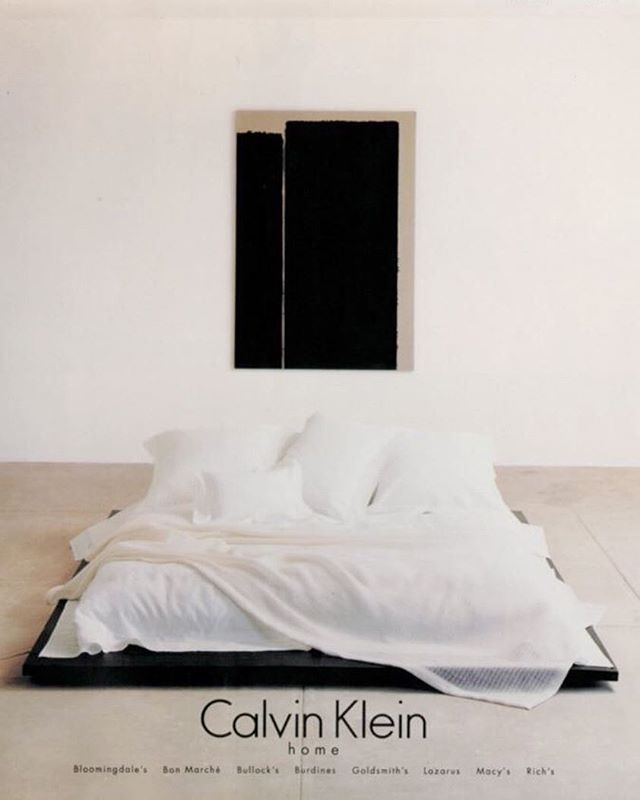 Advertisement featuring a Donald Judd bed and Yun Hyong-Keun painting, shot at the Chinati Foundation in Marfa, launched Calvin Klein Home in 1995.