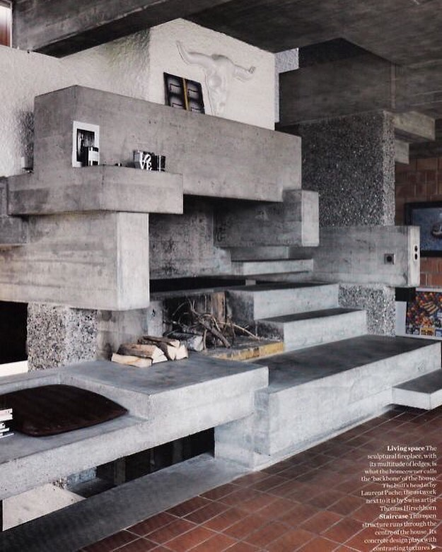 Brutalist fireplace via @architecturaldiet via @elledecorstionuk ⠀⠀⠀⠀⠀⠀⠀⠀⠀ Shop Brutalist-inspired and concrete furniture on Artefakt. Complementary shipping on all US orders. ⠀⠀⠀⠀⠀⠀⠀⠀⠀ www.artefakt.studio