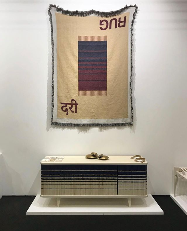 The RUG Rug by @indo.made at the Architectural Digest Design Show, available exclusively on Artefakt.