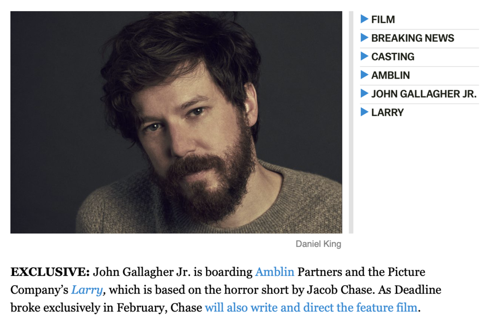 John Gallagher Jr. Joins 'Larry' -