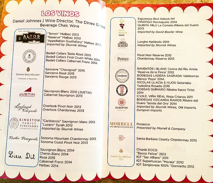 The wine list.... Los Vinos!
