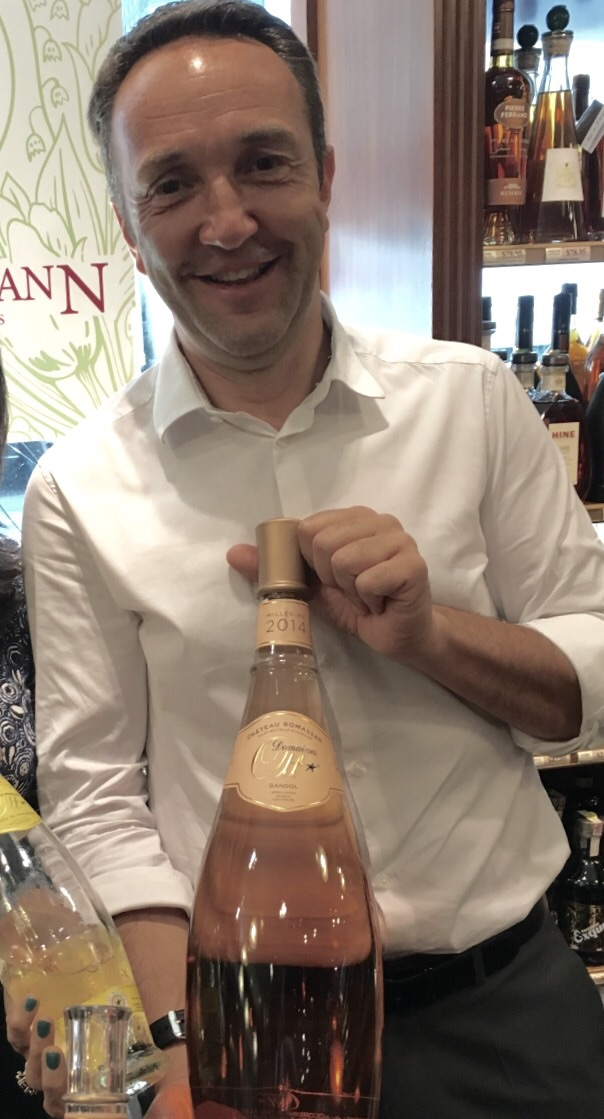 Jean-Francois Ott with his bottle of Domaine Ott Chateau Romassan rose