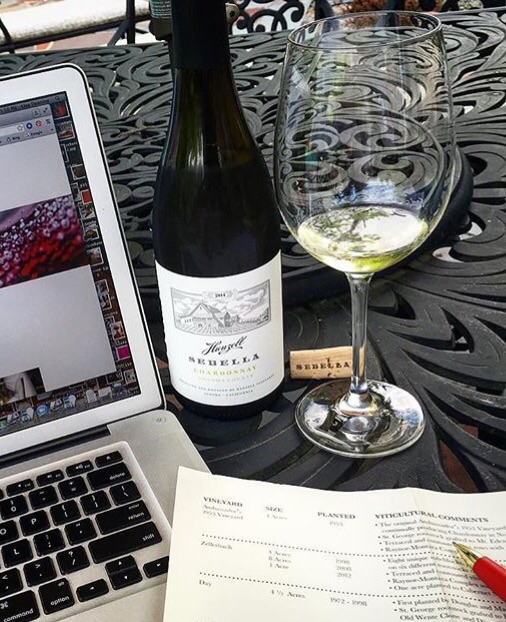 Working on this post, enjoying a glass of Hanzell Sebella Chardonnay