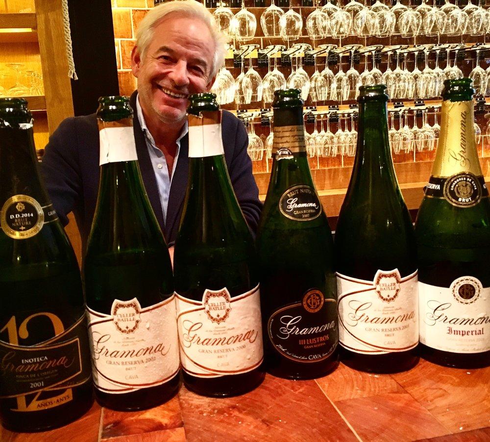 Xavier Gramona proudly displaying his delicious, awe-inspiring Cavas.