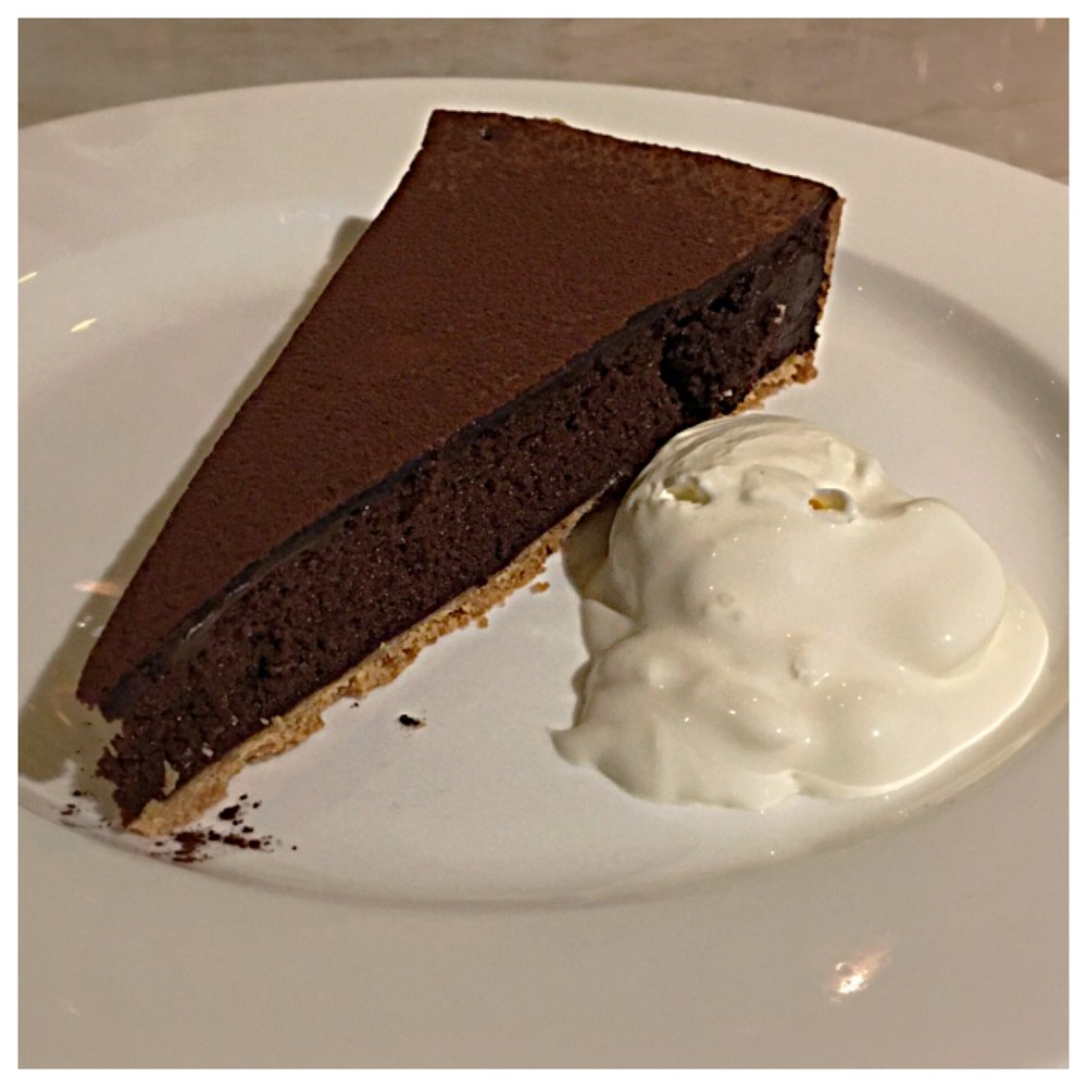 This Chocolate tart with creme fraiche was very light and airy with a crispy top
