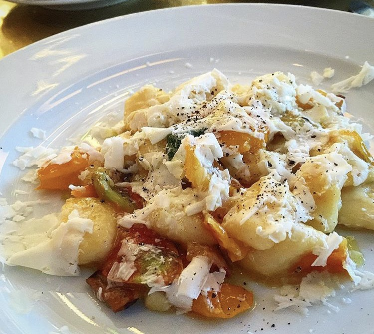 Gnocchi with roasted tomatoes, pancetta and cheese, Cafe Altria Paradiso