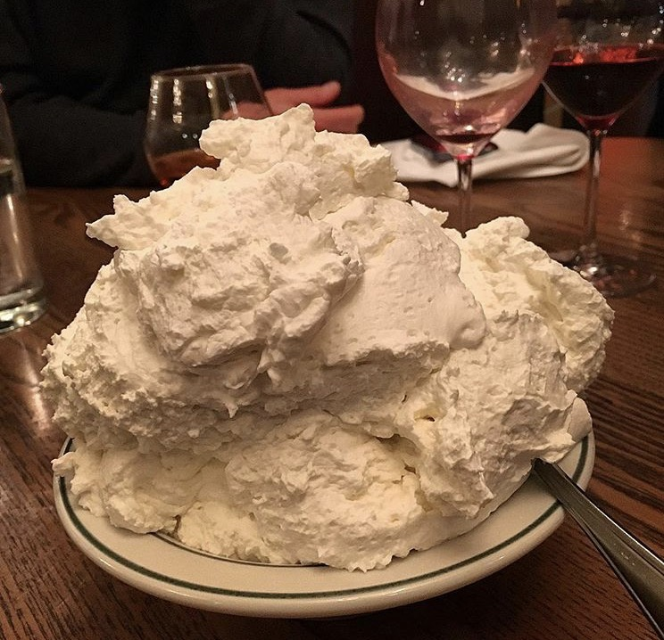 Schlag!! Peter Luger's infamous whipped cream.