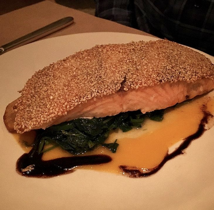 Sesame crusted salmon, Nougatine at Jean-Georges.