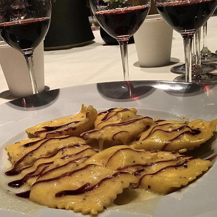 Marscapone ravioli with a red wine glaze, Ai Fiori
