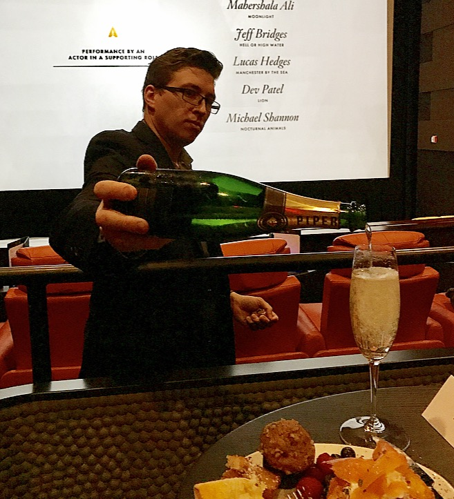 The knowledgeable and friendly Beverage Manager, Maximilien Grange, pouring Piper-Heidsieck Cuvee Brut during the Oscar Nominations announcement