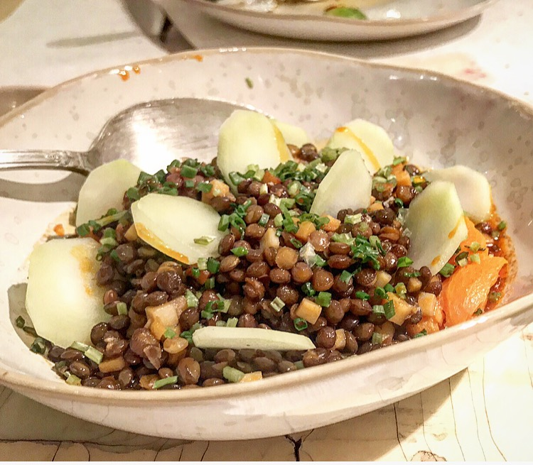 Lentils with chili oil, yams, broccoli stems and cilantro was an earthy dish with its subtle flavors all mingling together.
