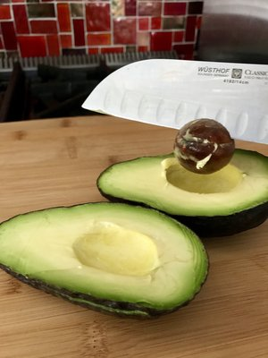 Notice the beautiful green/yellow color of these perfectly ripe avocados.