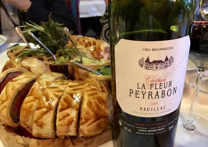 There's no better wine to pair with beef than a full-bodied red Bordeaux.  The  2009 La Fleur Peyrabon  from Pauillac has a sharp focus that cuts through the rich flavors of this dish.