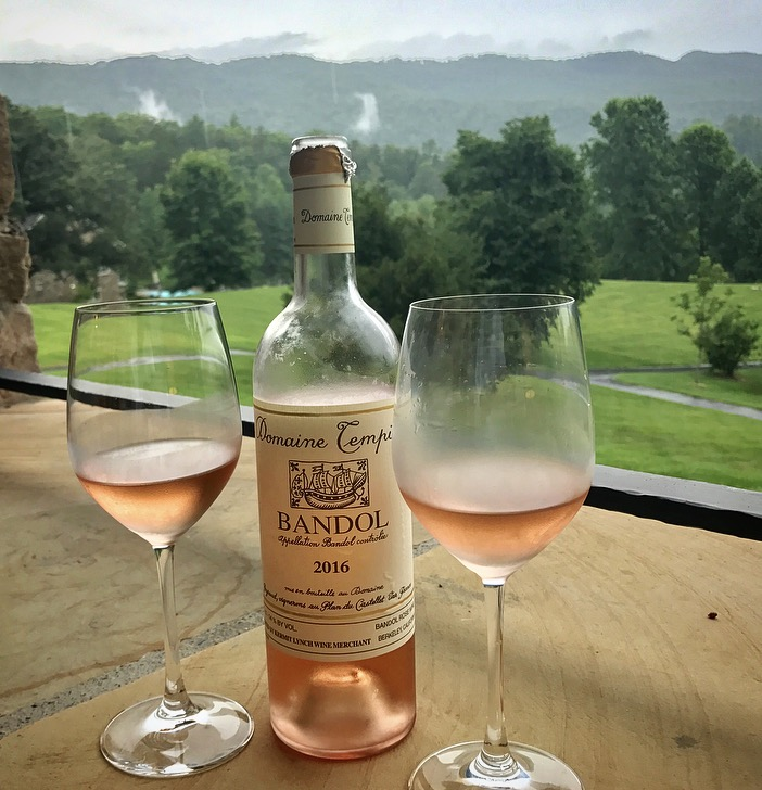 My evening overlooking the rolling hills of Tennessee was enhanced by the flavorful Domaine Tempier rosé.