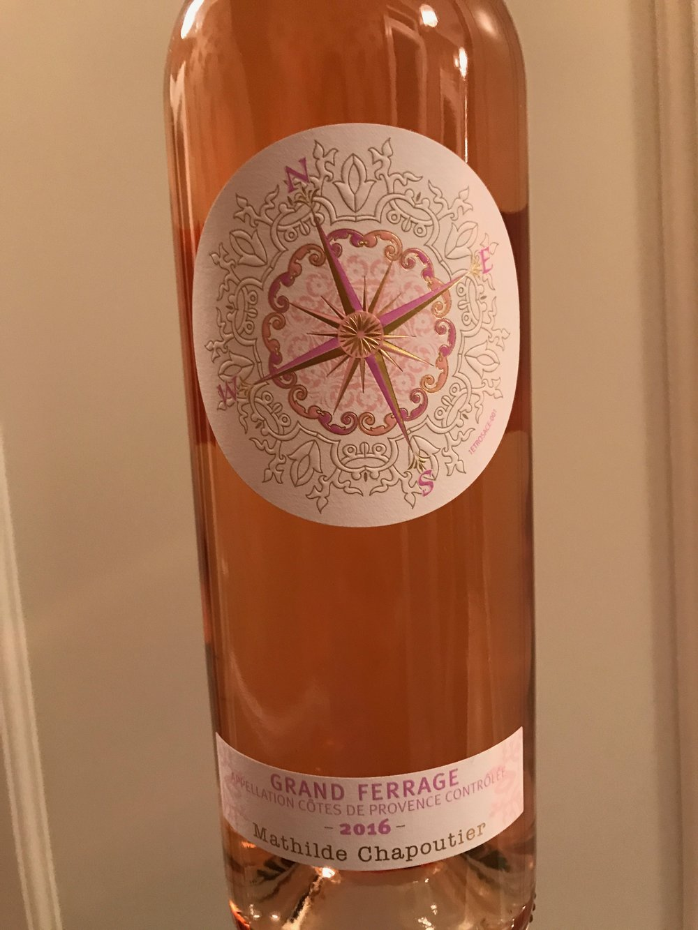 The beautiful label of the M. Chapoutier Grand Ferrage rosé was designed by Mathilde herself.