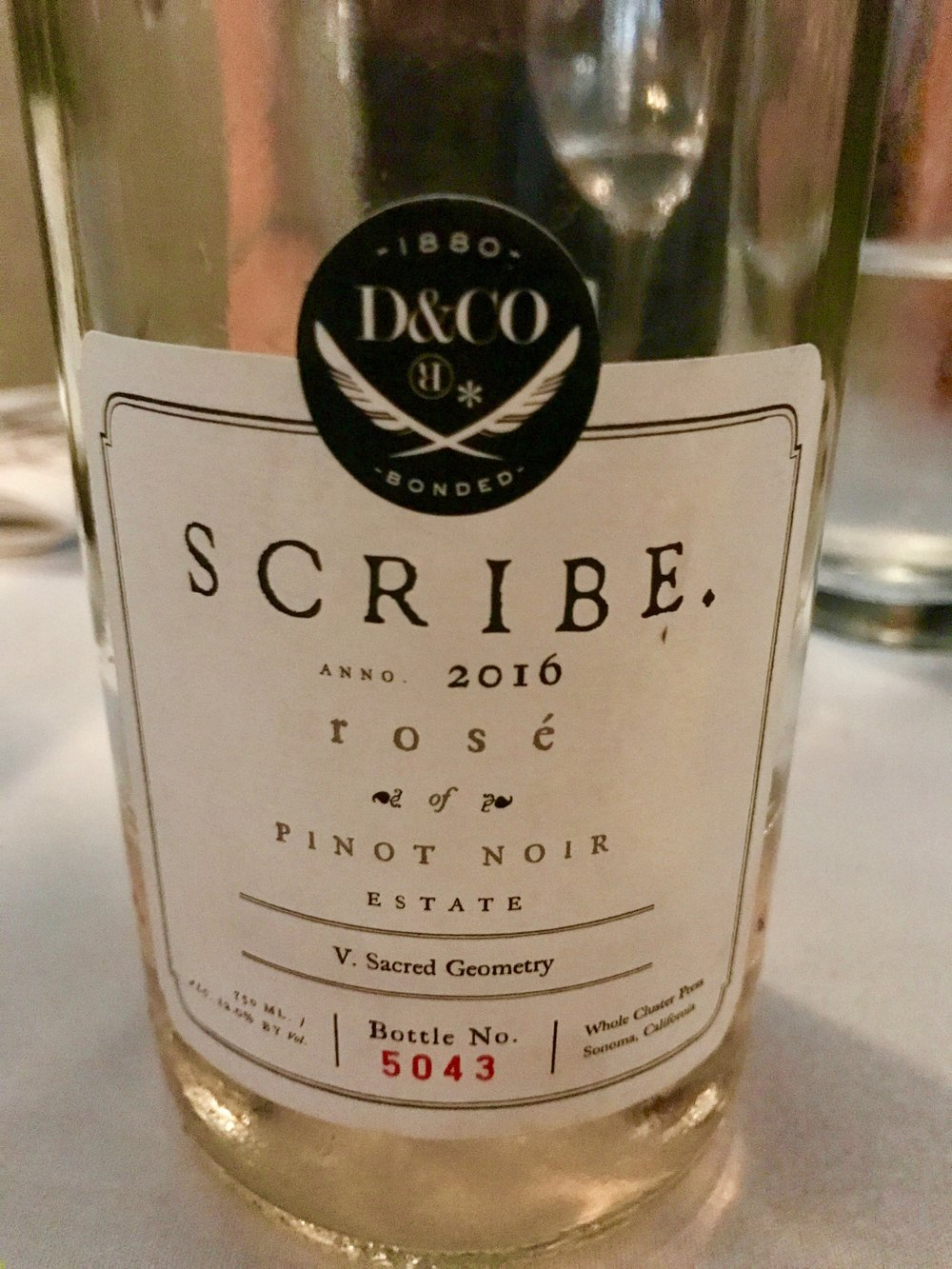 I tasted the 2016  Scribe  Rosé from Sonoma, California for the first time recently and I was very impressed. Made from Pinot Noir grapes, this wine has a lot of red berry flavor and it's delicious! ($32)