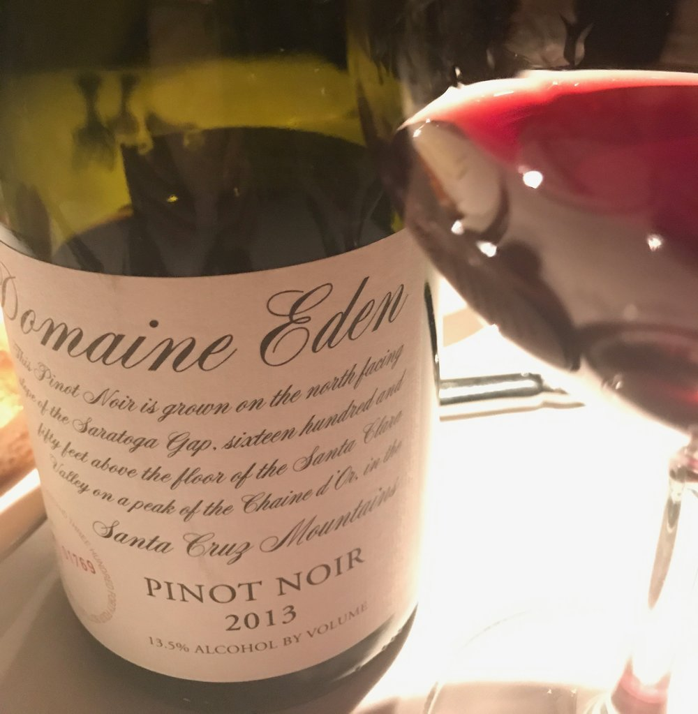 I love this 2013  Domaine Eden  Pinot Noir from the Santa Cruz Mountains of California.  It's soft and silky on the palate but bold enough to stand up to all your rich Thanksgiving dishes.  Yummy! ($38)