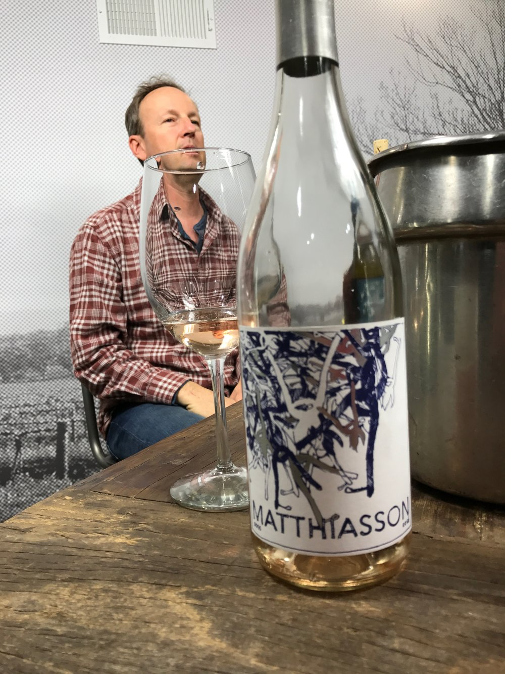 That's Steve  Matthiasson  (above) with his 2016 Dry Rose Wine.  It's made in California from a combination of Grenache, Syrah, Mouvèdre, and Counoise and has lots of juicy, fresh fruit flavors and it will go fabulouly with your turkey!! ($25)