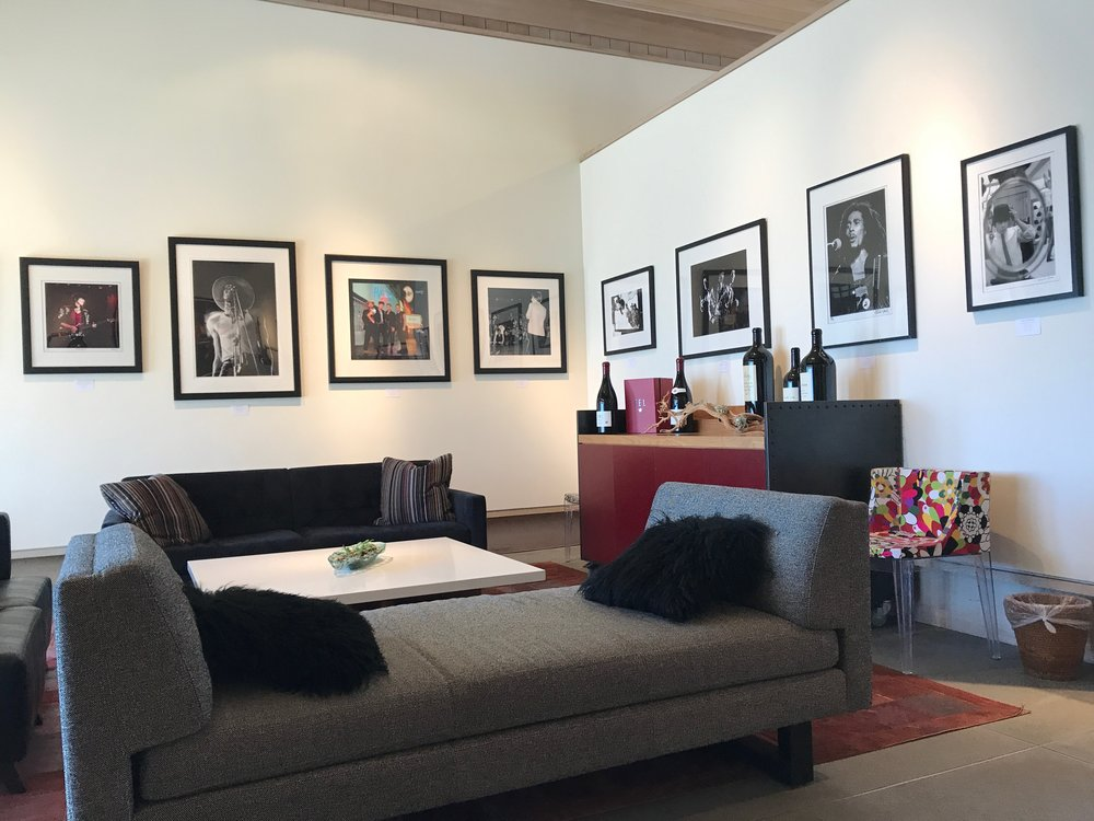 Photographs of rock stars adorn the walls of the lounge.