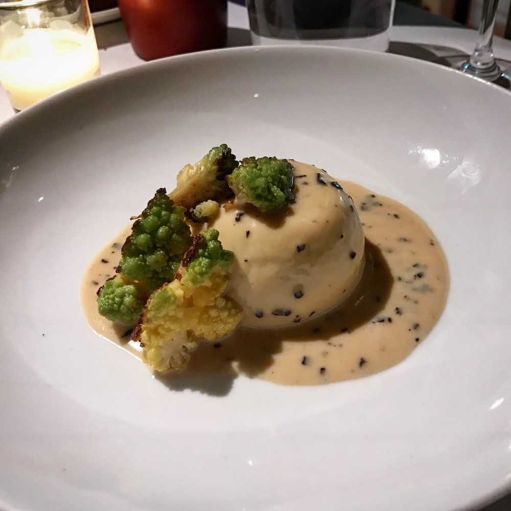 Appetizer with black truffle, cauliflower and romanesco sauce at Union Square Cafe