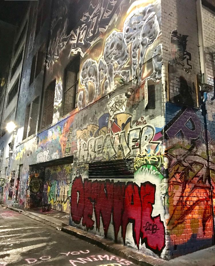 The Small, graffiti decorted street where MoVida is Located.