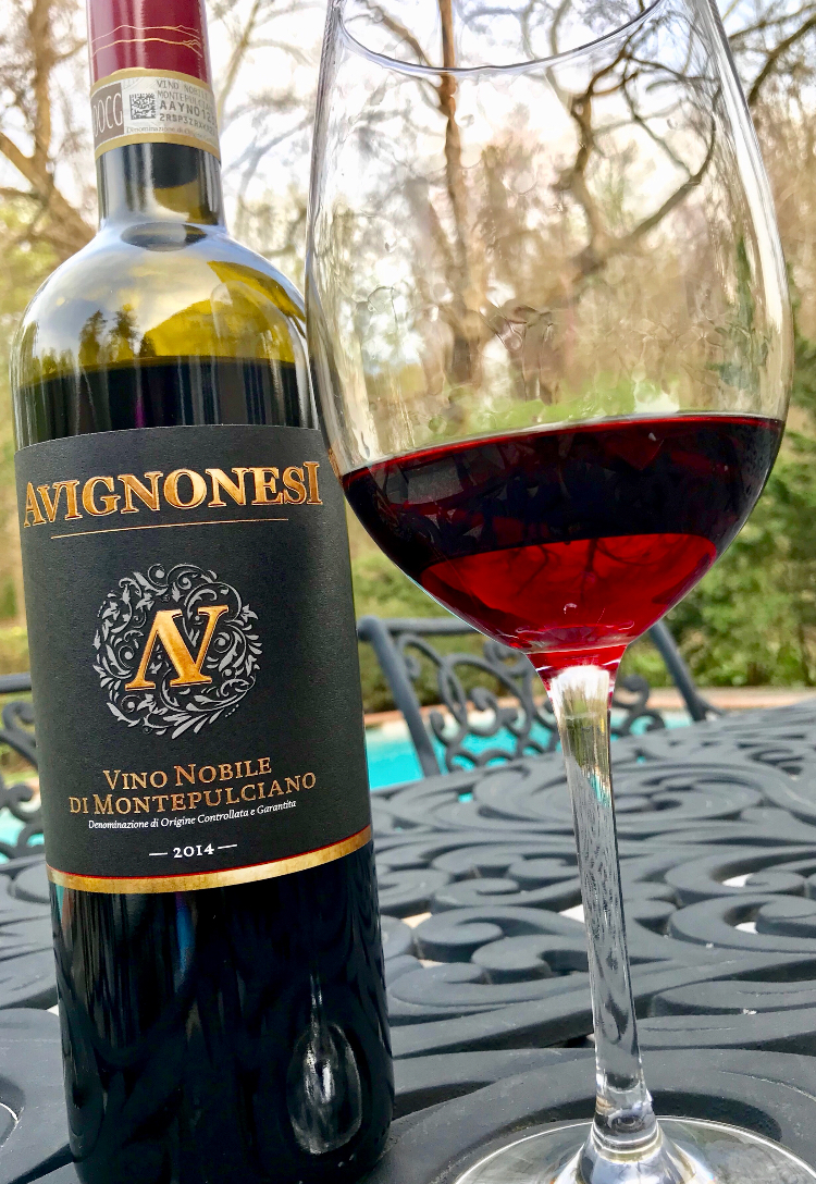 The gorgeous red color of the Avignonesi Vino Nobile di Montepulciano is surprisingly light and translucent. This medium-bodied wine has a very earthy quality, while still being light and fresh on the palate. The delicate fruit flavor —both of fresh and dried fruits — has slight hints of licorice and tobacco along with a spiciness, especially on the finish.