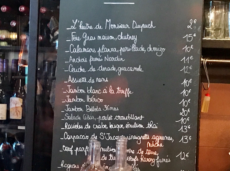 The blackboard at Le Carré