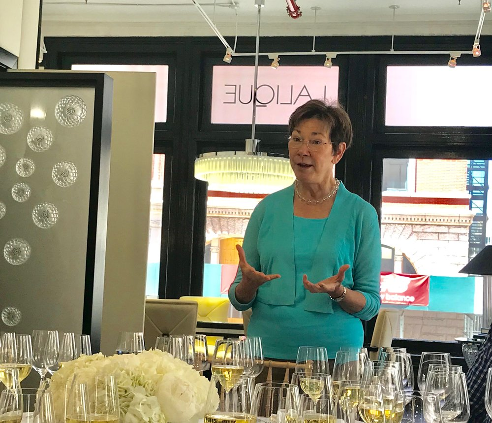 Eileen explains her approach to sparkling winemaking. All of the wines were served in beautiful Lalique crystal stemware.