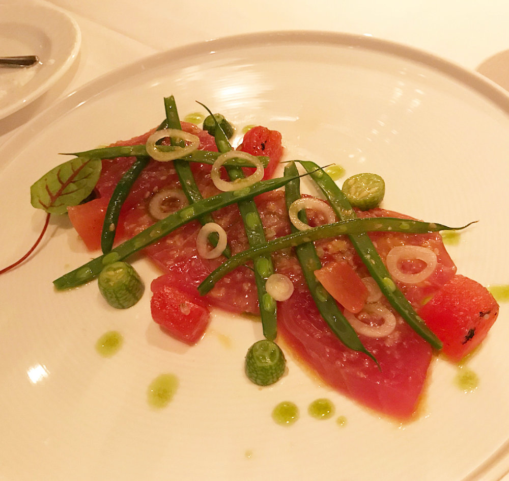 tuna tartare with green beans at Aureole.