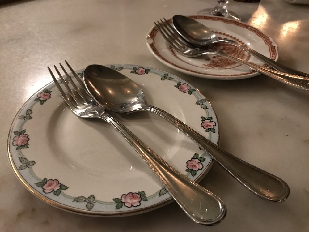 Via Carota's Charming, vintage place settings.