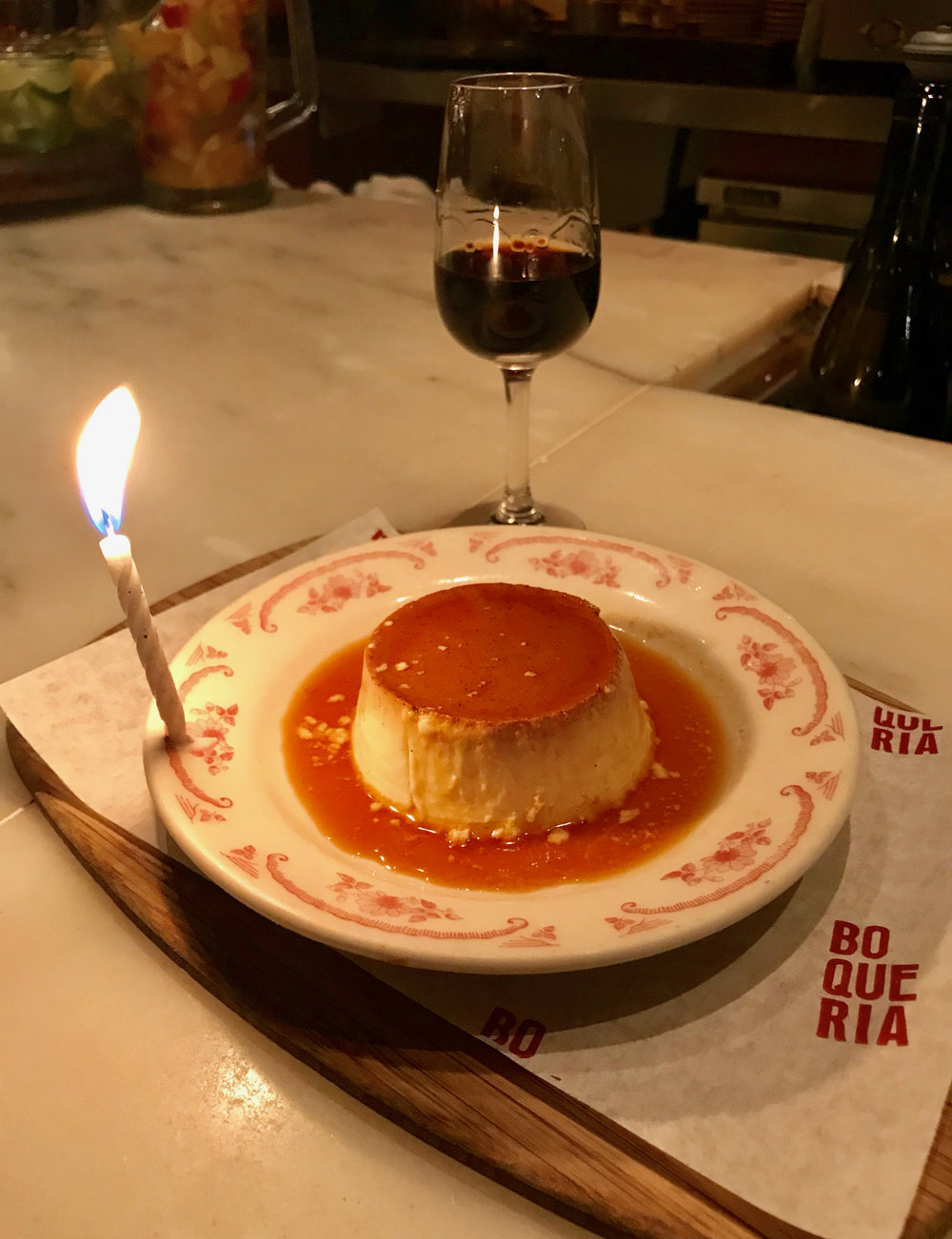 Happy Birthday flan at Boqueria Soho!