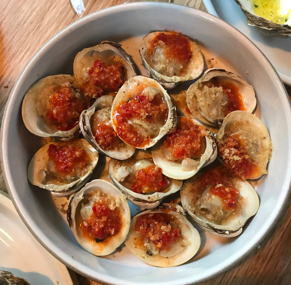 Clams with fresh tomato at Lilia.