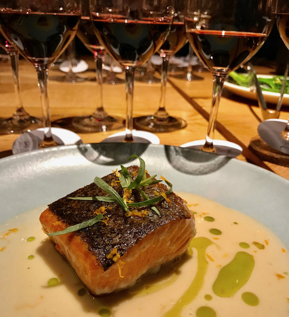 Delicous crispy-skinned salmon paired with Australian Shiraz at Covina.