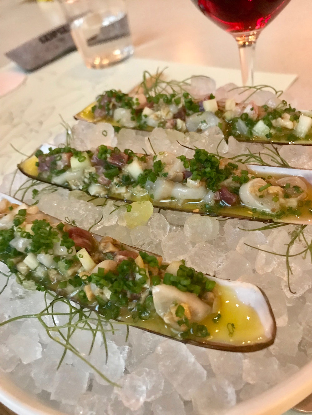 Lemony and bright razor clams at Scampi.