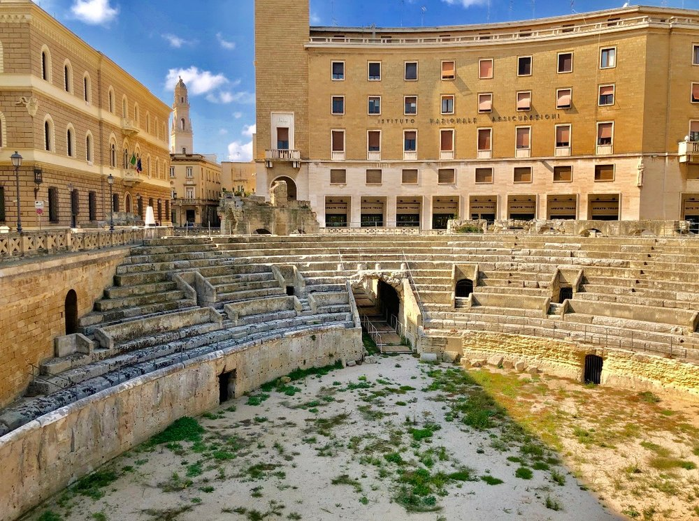Below the ground level of Lecce, the well-conserved 2nd Century A.D. Roman amphitheater is still used for performances.