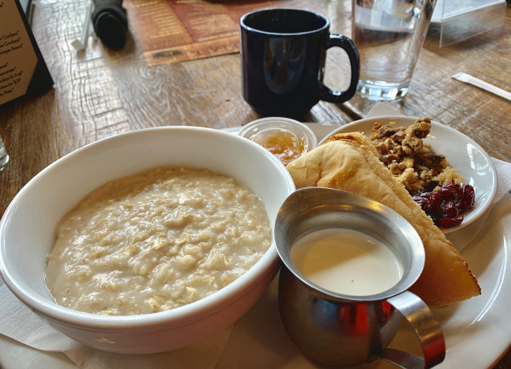 A delicious and hearty Oatmeal breakfast at Sacred Grounds Coffee & Tea House