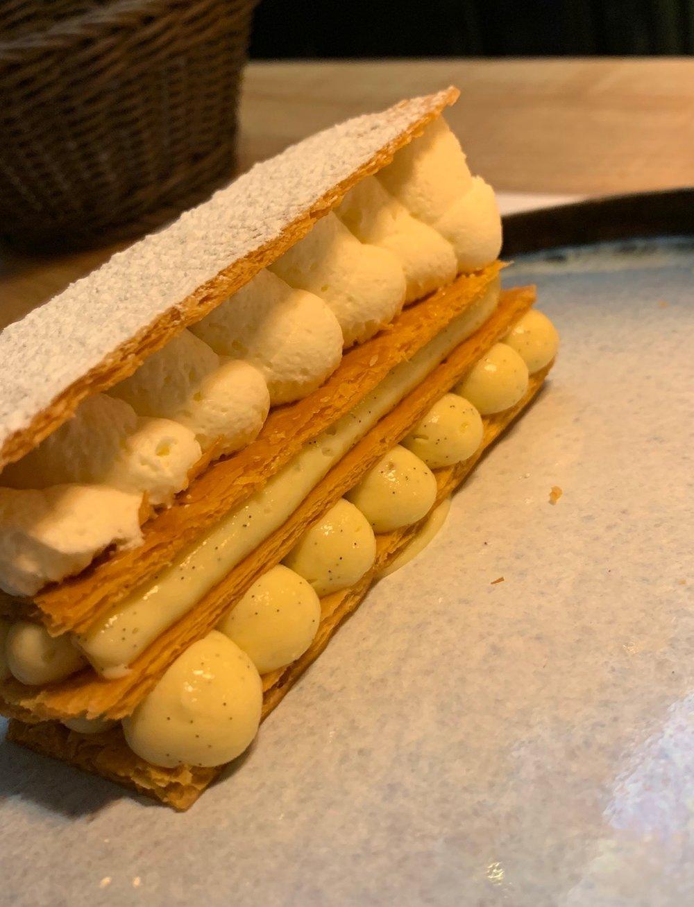 The best dessert at L'Univerre: Mille-feuille with vanilla bourbon cream.