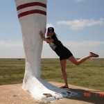 Lisa kicking up her own leg in joy over Huge Pair o' Legs!