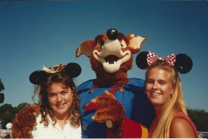 Liz, Lisa and unidentified Disney character, circa 1991