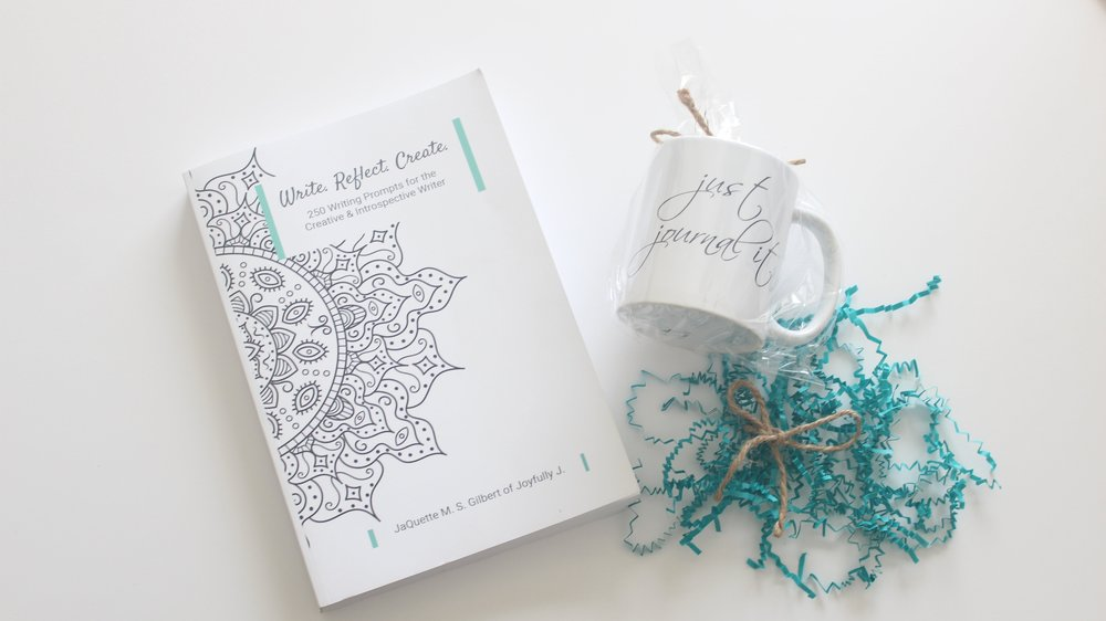 Write. Reflect. Create. Book and just journal it mug
