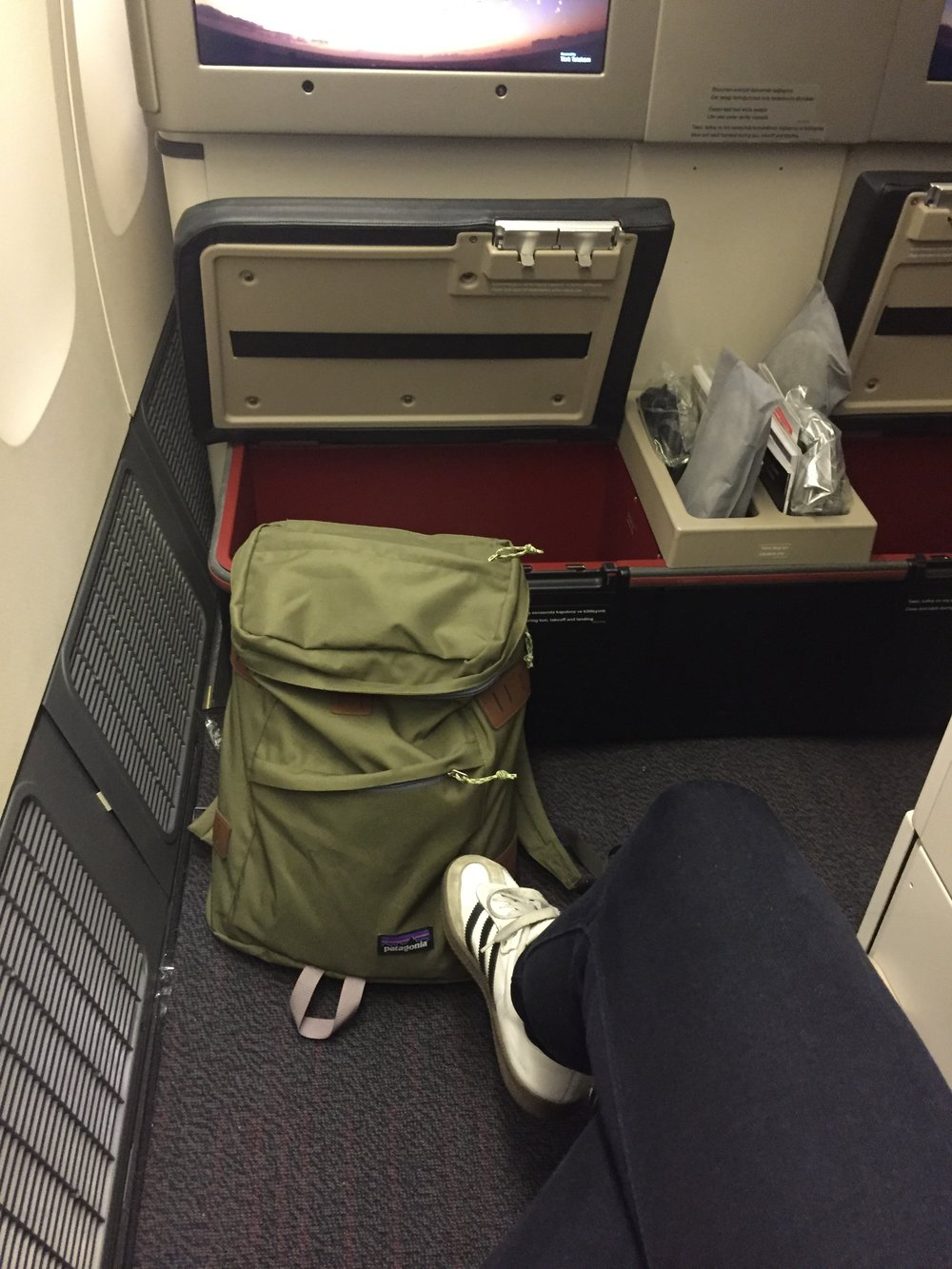 "And one more thing. Sometimes you just have to treat yourself. ""Book a flight in Business""... says the girl with sneakers and a backpack.     (To justify the upgrade, I did some freelance work during my vacation, mixing business with pleasure). Here's to making the world your office."