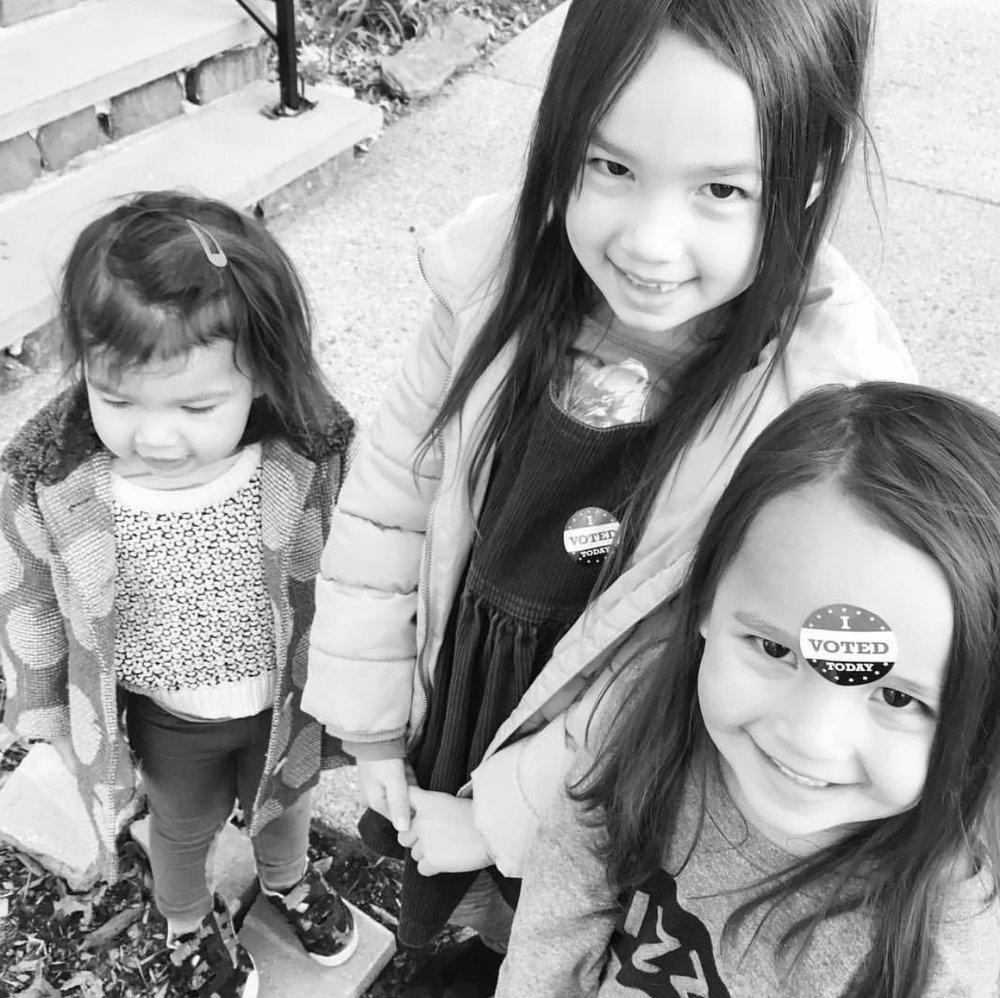 My precious nieces in observance of a good duty.