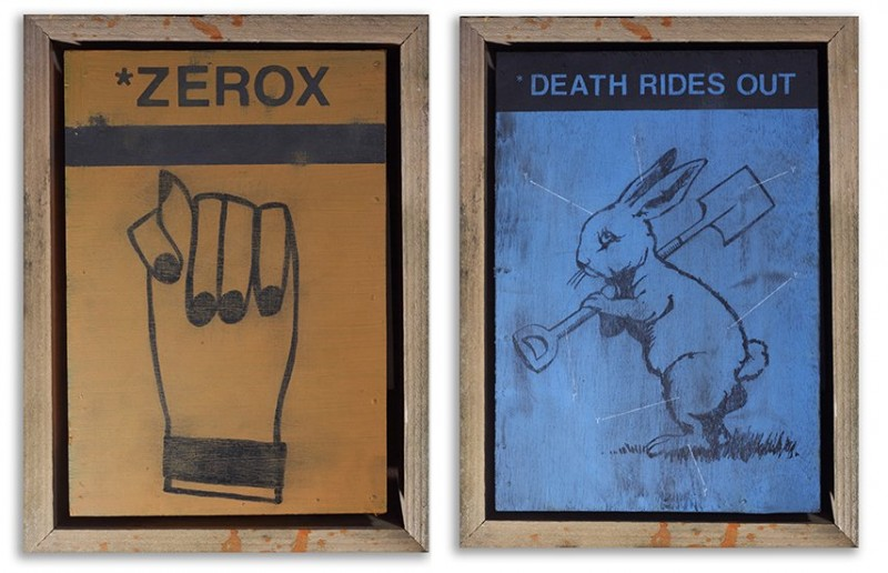 Left-David-Bray-Zerox-Paint-pen-and-pencil-on-wood-tray-framed-in-reclaimed-wood-Right-David-Bray-Death-Rides-Out-Paint-pen-pencil-on-wood-tray-framed-in-reclaimed-wood