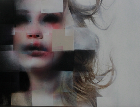 Marco Rea, Faces 02, Spray paint on billboards, 22.5x30.5in