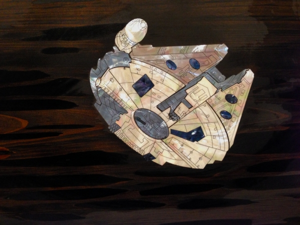 Ted Lincoln, Battle of Endor, detail, Mother of Pearl on Cypress slab, 86x24in,