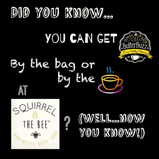That's right!  For anyone lucky enough to live near the fabulous @squirrelandthebee #grainfree refined sugar free, #paleo friendly bakery/cafe (located in Short Hills, New Jersey)....you can grab a cup of ButterBuzz blended with their delicious dark roast #coffee and grab a bag to make at home. #Yum! ❤☕❤ #buttercoffee #energy #focus #healthylifestyle #keto #intermittentfasting #healthyfood #grassfed #delicious #fastandeasy #coffeelover #handcrafted #smallbatch #crossfit